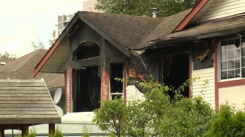 Five children narrowly escaped their flaming Port Moody home. Their father has been charged with arson in connection with the blaze. Photo by Jon Hernandez/CBC.